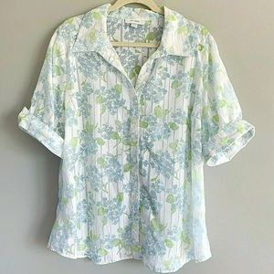Botanical Print Floral Blouse 18 20  Short Sleeve